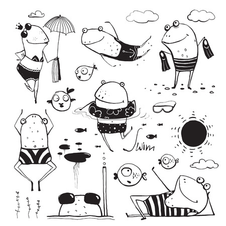 Ilustración de Frogs Summer Swimming Drawing Collection. Fun childish hand drawn inky one color outline illustration for kids. - Imagen libre de derechos