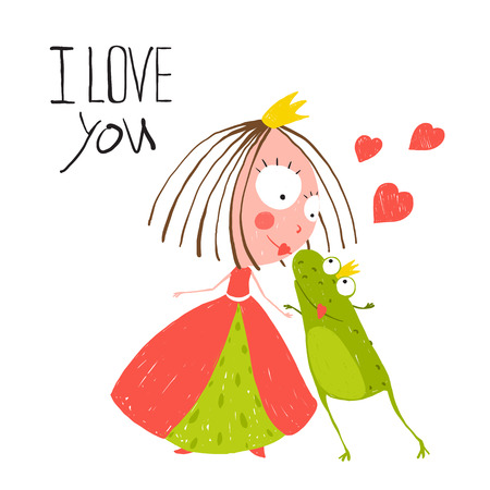 Illustration for Baby Princess and Prince Frog Kissing. Kids love story cute and fun hand drawn colored illustration. - Royalty Free Image