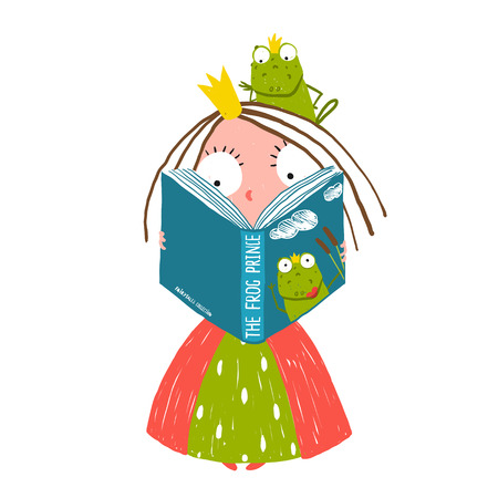 Illustration pour Clever Little Princess Reading Fairy Tale with Prince Frog Sitting on Head - image libre de droit