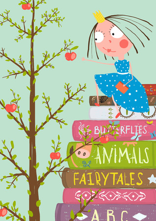 Illustration pour Curious Little Girl with Many Books and Apple Tree. Colorful a4 children greeting card illustration about education. - image libre de droit