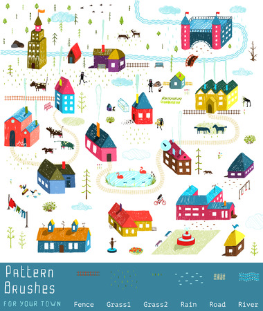 Illustration pour Small Town or City Houses Buildings Landscape Big Collection of Elements for Design. Colorful hand drawn sketchy pencil feel illustration. Countryside landscape constructor. Brushes groups included. - image libre de droit