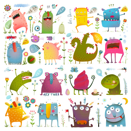 Ilustración de Fun Cute Cartoon Monsters for Kids Design Collection. Vivid fabulous incredible creatures design elements big bundle isolated on white.  vector has no background color. - Imagen libre de derechos