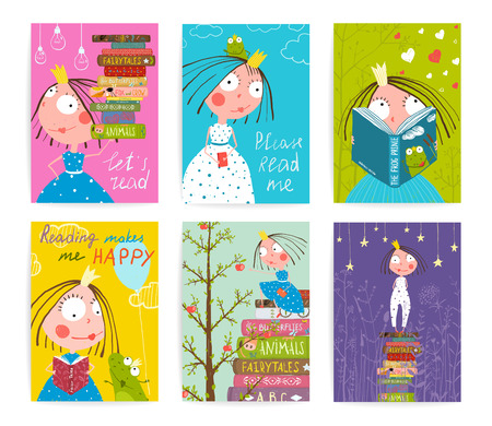 Ilustración de Cute Little Princess Kids Reading Fairy Tale Books Library Poster Collection. Colorful a4 cute girl cards big bundle with a sign for a little child about reading literature. Vector illustration. - Imagen libre de derechos