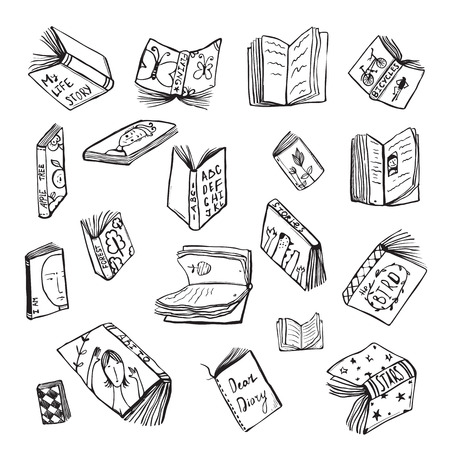 Illustration pour Open Books Drawing Reading Collection in Black Lines. Big set of hand drawn black and white outline literature covers illustration. - image libre de droit