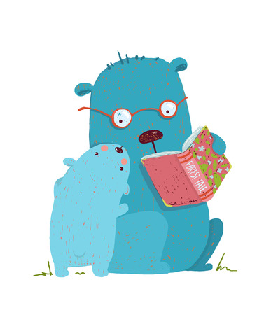 Ilustración de Animal cartoon, teddy read and education, illustration - Imagen libre de derechos