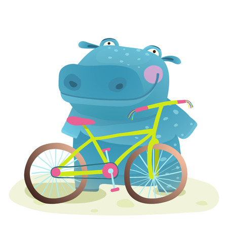 Illustration for Hippo with Bicycle. Happy fun wild animal doing bicycle sport for children illustration. Vector drawing. - Royalty Free Image