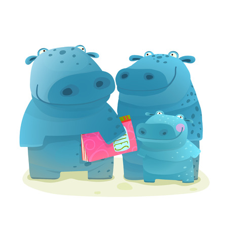 Illustration pour Hippo Family Mother Father and Kid with Book. Happy fun watercolor style zoo animal family for children cartoon illustration. Vector drawing. - image libre de droit
