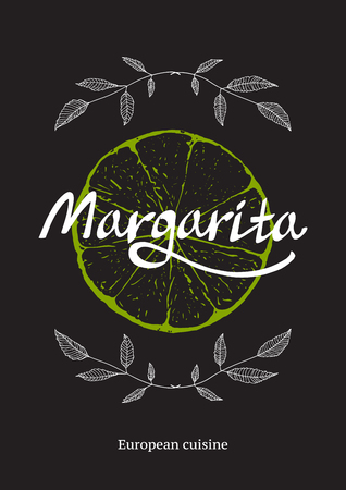 Illustration for Restaurant Cocktail Bar Template with Lime on Black - Royalty Free Image