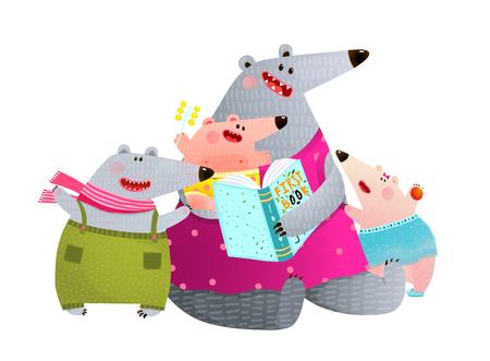 Ilustración de Happy animal family studying reading with mom. Vector illustration. - Imagen libre de derechos
