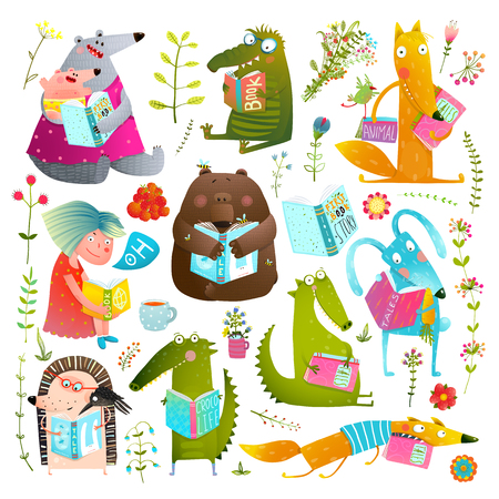 Illustration pour Funny Animal Kids Studying Reading Books Collection - image libre de droit