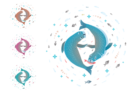 Ilustración de T-shirt design of two seals or sea dogs coloring variants. Vector illustration. - Imagen libre de derechos