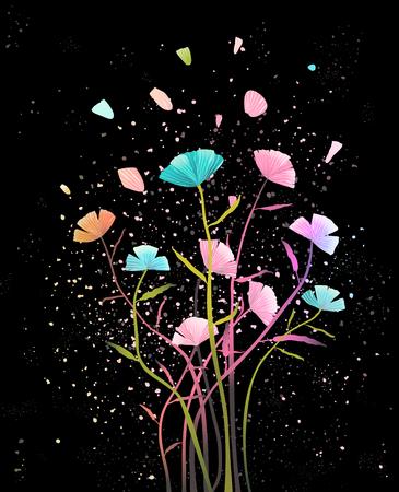 Illustration for Floral design on dark background. Vector design. - Royalty Free Image