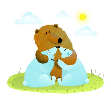 Illustration for Brown bear hugging little white bear cubs. - Royalty Free Image