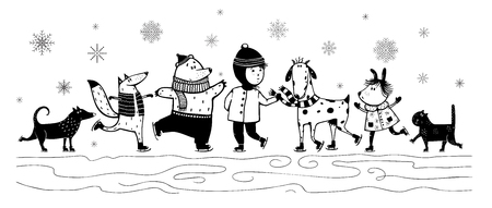 Illustration pour kid and animals in winter skiing Monochrome Black and White vintage cartoon - image libre de droit
