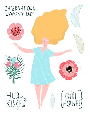 Illustration pour Blond woman and flowers spring design collection. - image libre de droit