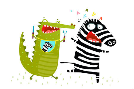 Illustration pour Hungry Alligator wants to eat Zebra running away. Vector fun cartoon. - image libre de droit