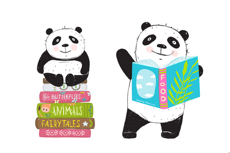 Illustration pour Cartoon bears panda and books, hand drawn illustration. - image libre de droit