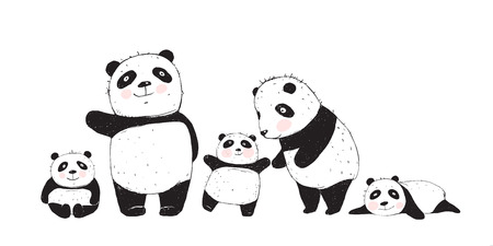 Illustration pour Cute Panda Bears family, mother father and kids isolated. - image libre de droit