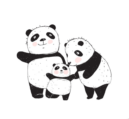 Illustration pour Family of three cute pandas parents and a kid. - image libre de droit
