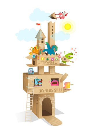 Illustration for Funny fairy tale paper craft castle made of cardboard with fun monsters festival. - Royalty Free Image