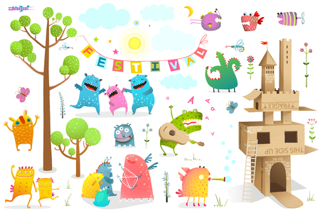 Illustration for Funny fairy tale event for kids playing game with cardboard castle clip art. - Royalty Free Image