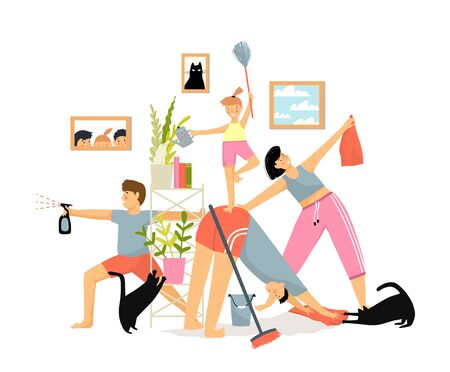 Illustrazione per Humorous funny everyday family routine cartoon concept. Smiling family parents with children and cats cleaning house together house with different tools on white background. Vector flat illustration. - Immagini Royalty Free