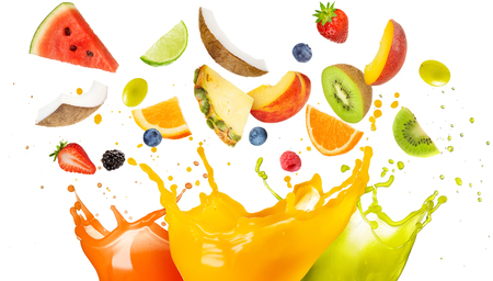 Photo pour mixed fruit falling in colorful juices splashing - image libre de droit