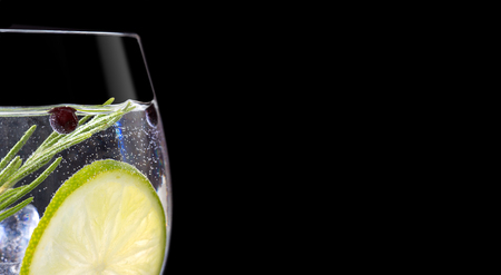 Photo pour Close up of gin tonic glass on black background - image libre de droit