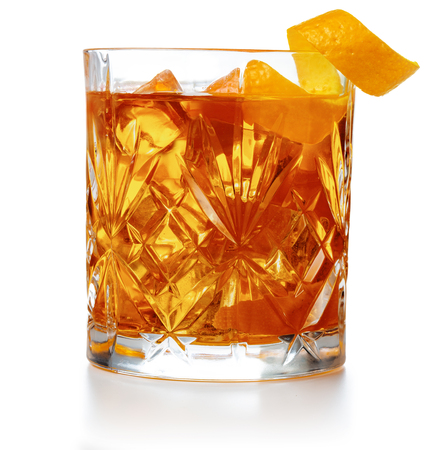 Photo for old fashioned cocktail garnished with orange twist peel isolated - Royalty Free Image