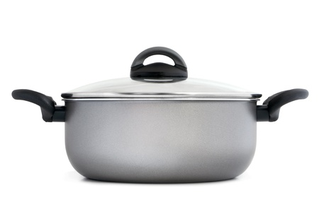 Stainless pan on a white background