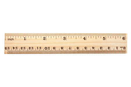 Photo pour Wooden ruler isolated on white background - image libre de droit