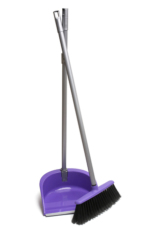Photo for Broom and dustpan on white background - Royalty Free Image