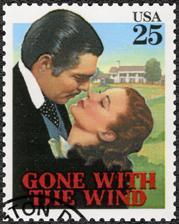 Photo for USA - CIRCA 1990: A stamp printed in USA shows Gone with the wind, Vivien Leigh as Scarlett, Clark Gable  as Rhett, Classic Films, circa 1990 - Royalty Free Image