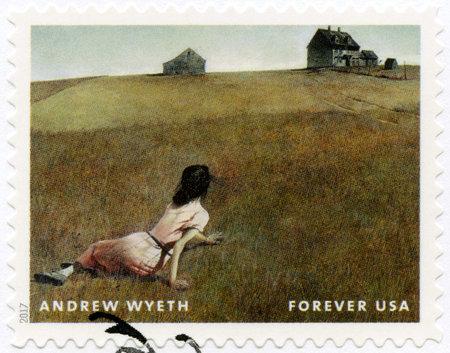 Foto de USA - CIRCA 2017: A stamp printed in USA shows Christina's World, Andrew Newell Wyeth (1917-2009), Ceremony Memento, circa 2017 - Imagen libre de derechos