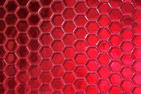 Photo for Red hexagonal tiles as an extra wide background                                - Royalty Free Image
