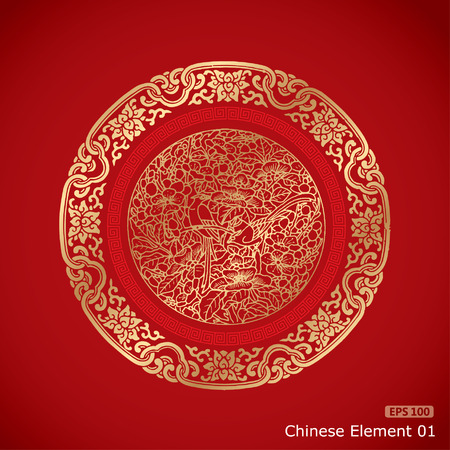 Ilustración de Chinese Vintage Elements on classic red background - Imagen libre de derechos