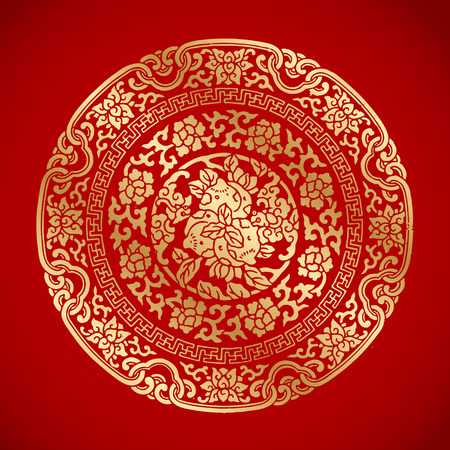 Illustration for Chinese Vintage Elements on classic red background - Royalty Free Image
