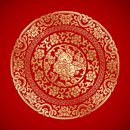 Ilustración de Chinese Vintage Elements on classic red background - Imagen libre de derechos