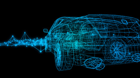 Foto de car model body structure, wire model with Reflect 3d rendering - Imagen libre de derechos