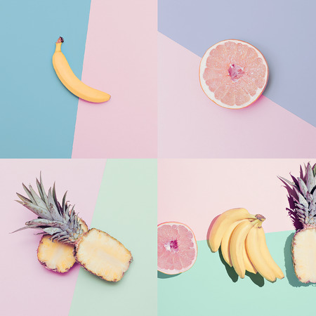 Photo pour Fashion Vanilla fruit set. minimal Style - image libre de droit