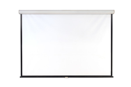 Photo pour The hanging projection screen isolated on white - image libre de droit