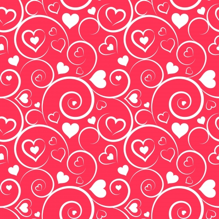Love seamless pattern  White hearts and swirls on pink background