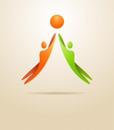 Illustration pour Two people achieve the goal  Business concept  - image libre de droit