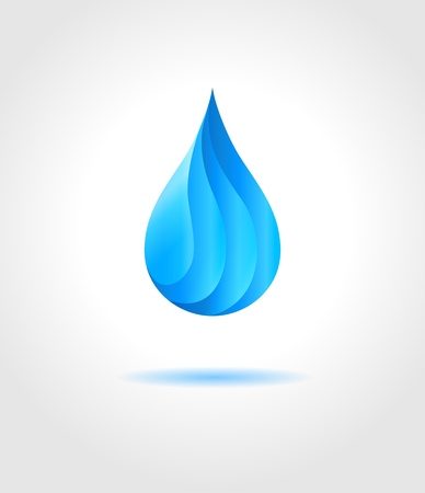 Abstract blue water drop on gray background  Vector creative concept