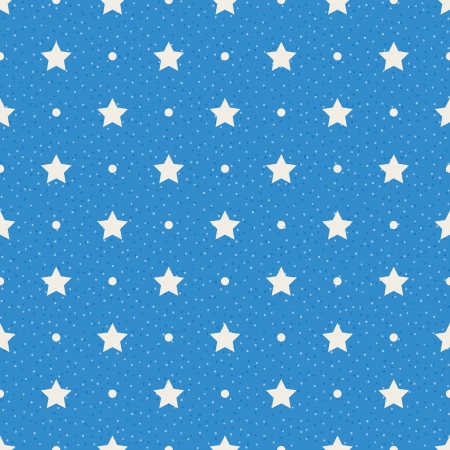 Illustration pour Stars and dots on blue background  Seamless textured polka dots pattern - image libre de droit