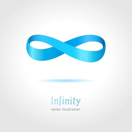 Ilustración de Abstract blue Infinity symbol on gray background   business creative concept - Imagen libre de derechos
