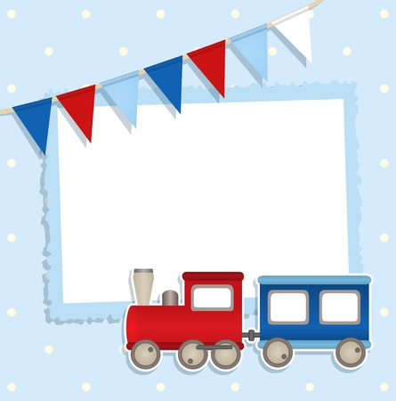 Ilustración de Holiday card with festive flags and sticker train and place for your text or photo - Imagen libre de derechos