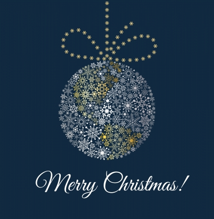 Illustration pour Christmas ball on dark blue background  Planet made from snowflakes with bow - image libre de droit