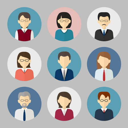 Illustration for Colorful business people face. Circle icons set in trendy flat style - Royalty Free Image