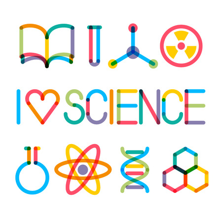 Illustration pour Trendy multiply science icons and phrase I love science - image libre de droit